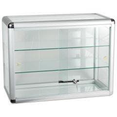 "Silver Aluminum Countertop Display Case - 24"" x 12"" x 18"""