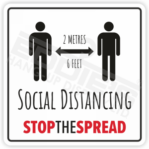 'Social Distancing' Signs/ Decals | 4 Per Pack