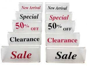 Retail Counter Signs | Black or Red Print