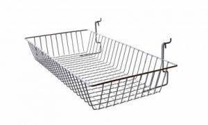 """Slatwall & Gridwall Wire Basket   12"""" x 24"""" x 4"""""""