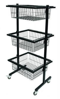 Three Tier Adjustable Basket Stands | Black & White