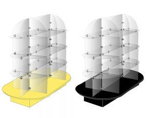 Oval Glass Shelving Unit   Retail Display
