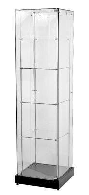 Frameless Glass Tower With Black Base | Narrow | Four Shelf