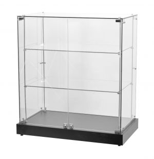 Frameless Counter Showcase With Black Base | Wide | Two Shelf