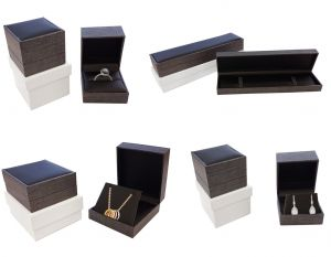 Hinged Jewellery Boxes | Grey Mesh Pattern