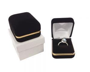 Ring Box | Velvet Metal Box | Gold Trim