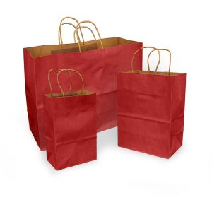 Scarlet Red 100% Recycled Kraft Paper Bags With Handles