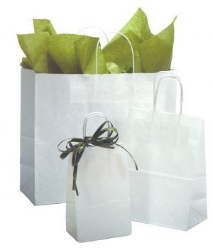 White 40% Recycled Kraft Paper Bags With Handles