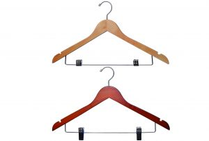 Wooden Suit Hangers with Clips | Flat